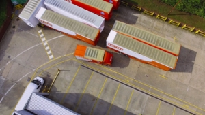 TNT promotional film aerial photo of delivery truck